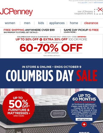 Final days! Up to 50% off furniture & mattresses