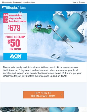 Get your MAX Pass before the price goes up $50 on 10/10
