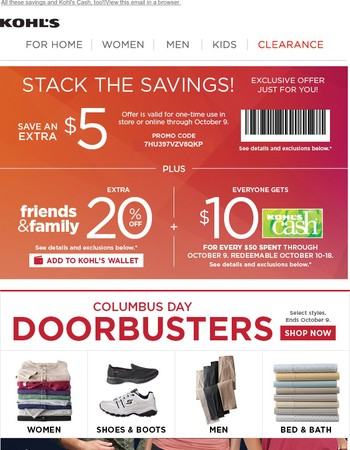 20% off, $5 off and Doorbusters--just for you!