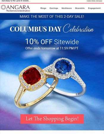 Columbus Day Special: 10% Off Site-Wide!