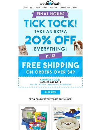Tick Tock: 20% off ends TODAY