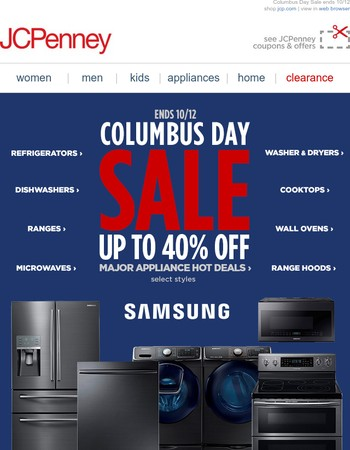 Think big! Up to 40% off Major Appliance Hot Deals