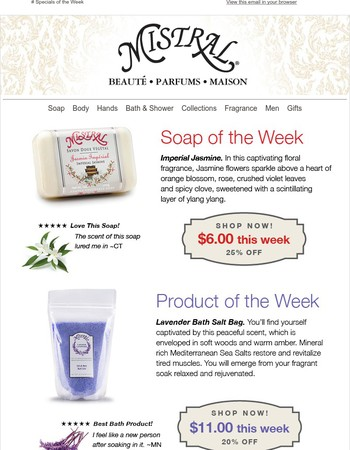 Specials of the Week: Imperial Jasmine Soap & Lavender Bath Salts