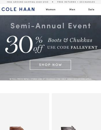 2 Days Left! 30% Off Boots & Chukkas