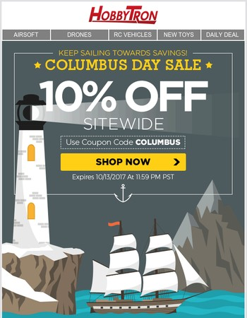 Columbus Day Sale: 10% Off Sitewide