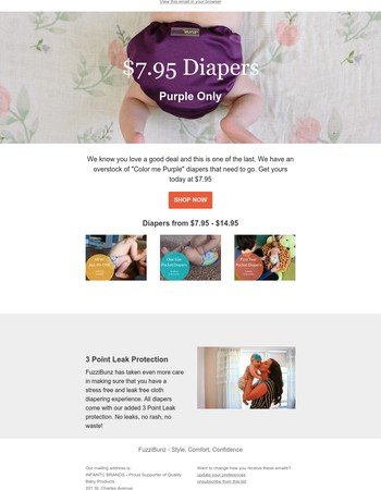 Diapers as low as $7.95