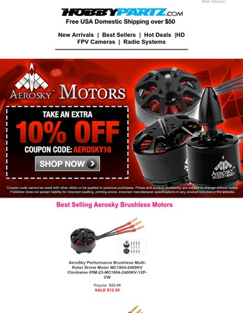 New Lowered Prices on Brushless Drone Motors + Extra 10% Off