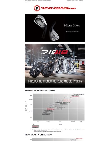 Buy Miura! Buy Custom Titleist 718 Irons and 818 Hybrid! Custom shaft chart available to find the right shaft! Get Customized!