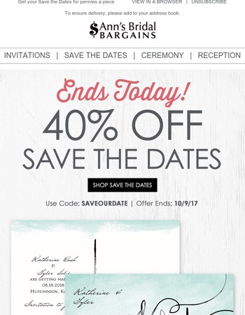 Over at Midnight: 40% off Save the Dates