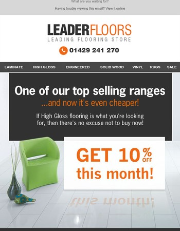Get 10% off High Gloss flooring now!