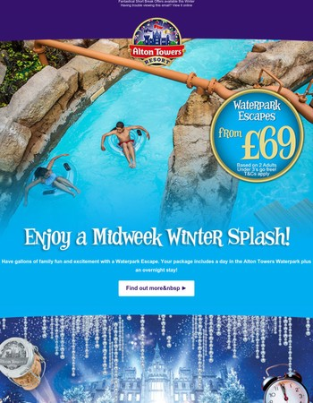 We're still open! Splashtastic short breaks this Winter