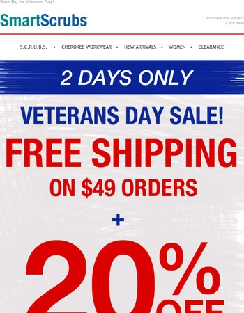 20% off Patriotic Colors & Free Shipping on $49 Orders!