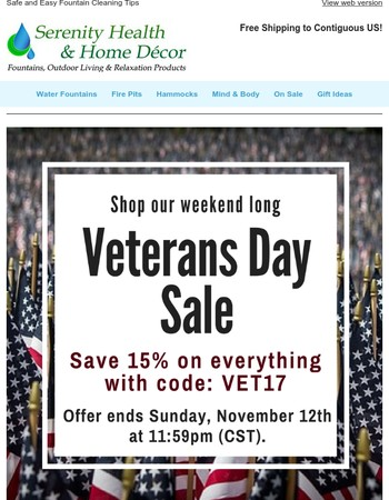 Save 15% On Everything During Our Veterans Day Sale!