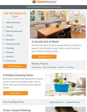 Home Advisor Offers From Newsletters