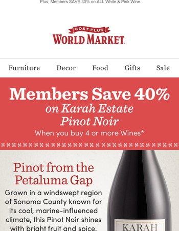 Elevate the everyday with 40% off this luxury Pinot Noir.