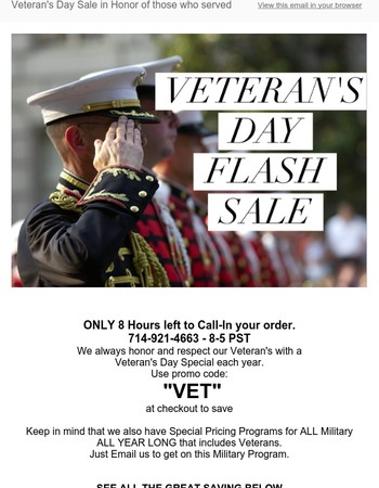 8 Hour Left to Call-In Veteran's Day Egg Whites Sale