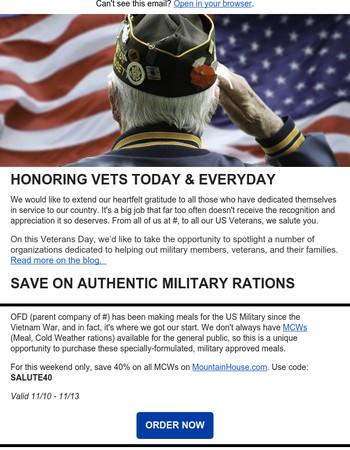 Veterans Day Organizations + 40% Off MCWs