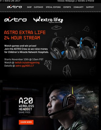 Live: ASTRO Gaming + Extra Life. Play Games, Heal Kids, Win Prizes
