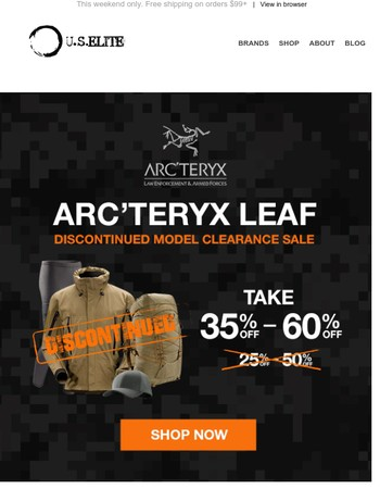 Save 35%- 65% off on Arc'teryx LEAF Discontinued Models