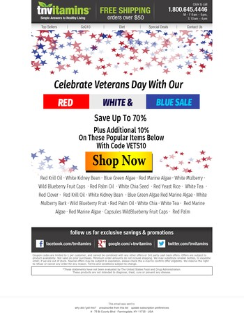 Extra 10% Off With Vets Day Savings Code