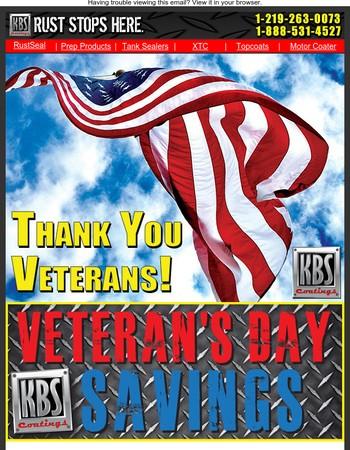 Thank You! Veteran's Day Savings