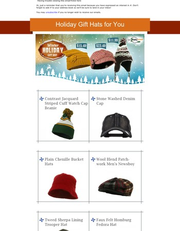 Holiday Gift Hats for You