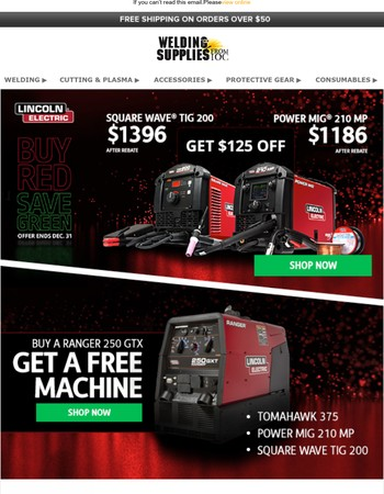 BIG savings on Lincoln's most popular machines! Open for details.