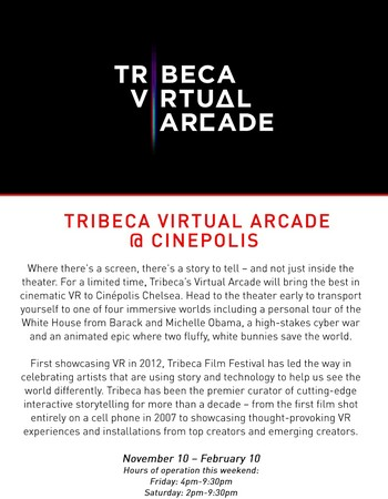 Tribeca Virtual Arcade: Now Showing at Cinepolis Chelsea