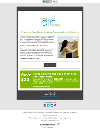 Protecting Your Home Air When Preparing for the Holidays - 'Air' Mail from Home Air Check