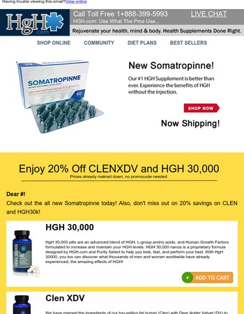 Check out our all new Somatropinne as well as 20% Savings on Clen and HGH30k