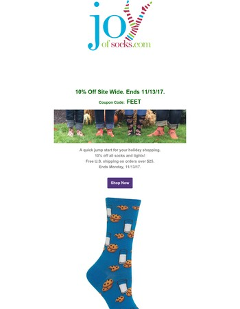 It's That Sock Time Of Year. 10% Off Site Wide. Ends tomorrow!
