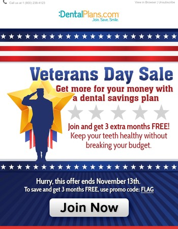 LAST DAY: Join a Dental Plan & Enjoy 3 Months FREE This Veterans Day