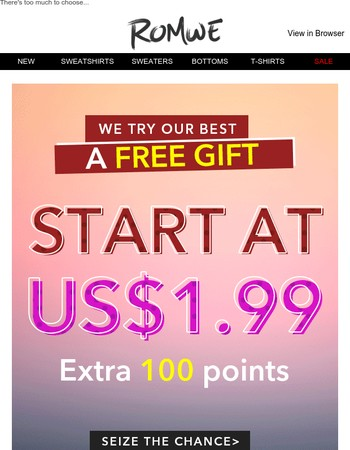 Fill your cart with hot styles: Start at US$1.99