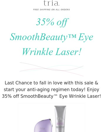 Last Chance to save 35% off Eye Wrinkle Laser!
