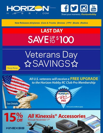 Last Day for Veterans Day Savings + Save 15% on ALL Kinexsis