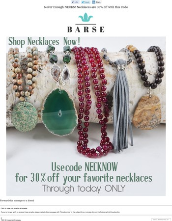 Can You Ever Have Enough Necklaces, Though? Last Day for 30% Off Any Necklace