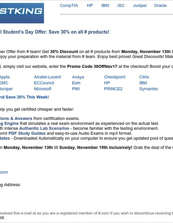 Best International Student's Day Offer: Save 30% on all TestKing products!