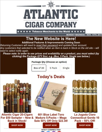 Monday Madness: 601 Blue Label Toro Maduro 5-Packs – 50% Off | Atlantic Cigar 20-Cigars For $50 Sampler – New & Back in Stock! La Jugada Claro CT Gordo 10-Pack - 50% Off!