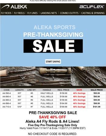 Aleka Sports Pre-Thanksgiving Sale