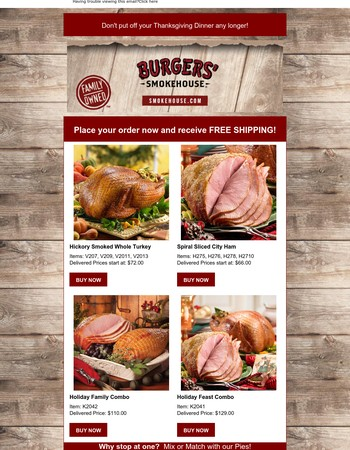 Time for Thanksgiving at Burgers' Smokehouse