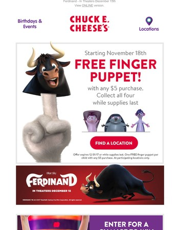Free Ferdinand Finger Puppets - 11/18, while supplies last!