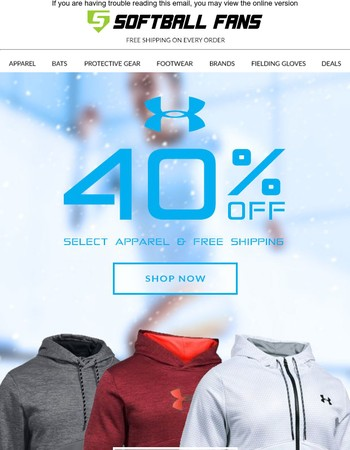 40% off Select Under Armour!