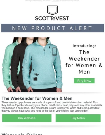 NEW PRODUCT ALERT: The Weekender for Women and Men!