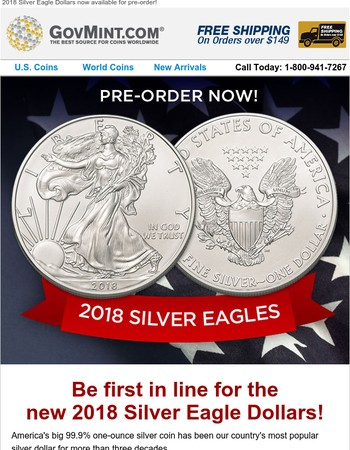 2018 Silver Eagles Now Available for Pre-order!