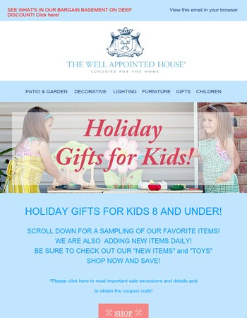 HOLIDAY GIFTS FOR KIDS UNDER 8 & 15% OFF SITE WIDE SALE!