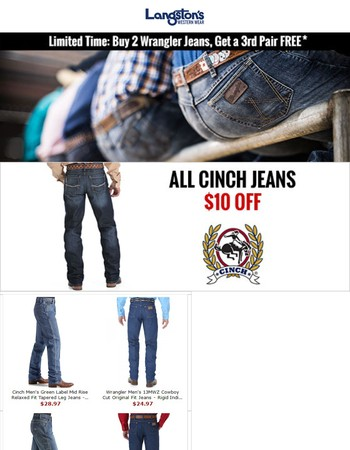 FREE Wrangler Jeans and $10 off Cinch Jeans at Langston's