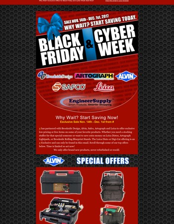 Black Friday and Cyber Week Specials
