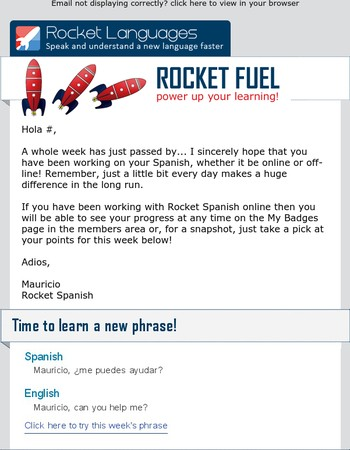 Hola Mary, boost your motivation with Rocket Spanish Badges