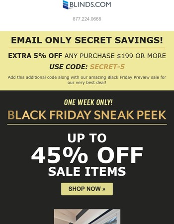 Up to 45% Off  and Secret Extra 5% Now