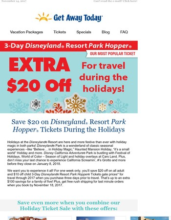Save $20 on Disneyland® Resort Park Hopper® Tickets During the Holidays